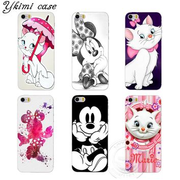 Marie aristocats fashion Mickey Minnie cover for Apple iphone 4 4s 5 5s SE 5c 6 6s 7 plus case Clear Matte Phone shell
