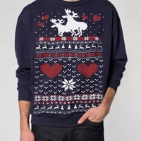 Ugly Christmas sweater -- Moose Love -- pullover sweatshirt -- s m l xl xxl xxxl