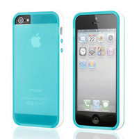 DrHotDeal - iPhone 5 TPU White Bumper Frame Transparent Matte Back Cover Case - Transparent Blue, White