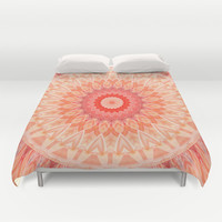 Mandala soft orange Duvet Cover by Christine baessler
