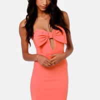 Bow Down Strapless Coral Dress