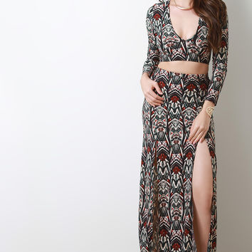 Abstract Print Double Deep Slit Maxi Skirt
