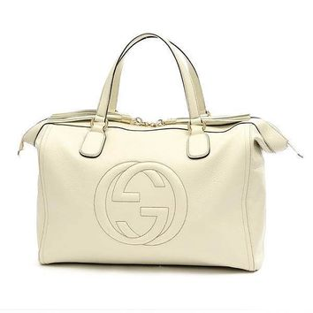 GUCCI Soho Cellarius Tote Bag Calfskin Ivory 282306 Free Shipping