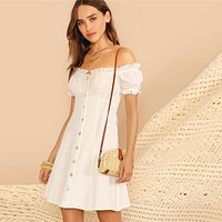 Cotton Puff Sleeve Dress