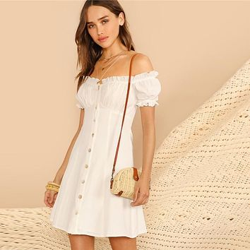 Cotton Bardot Off Shoulder White Dress