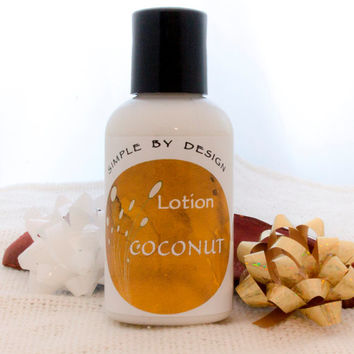 Coconut Body Lotion 2oz Body Lotion  Coconut scented  - coconut oil and shae butter, gift idea, stocking stuffer, unique, handmade