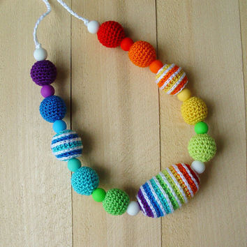 Nursing necklace Sling Accessory Teething necklace Babywearing Breastfeeding Crochet necklace  Rainbow Wooden & Silicone beads Baby toy gift