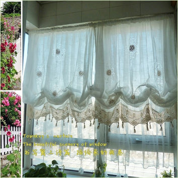 Pastoral style adjustable balloon curtain living room shade white window treatment curtains for windows