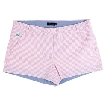 The Brighton Seersucker Chino Short in Pink Stripe by Southern Marsh - FINAL SALE