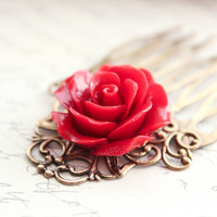 Metal Comb, Red Rose, Crimson, Flower Hair Comb, Flowers For Hair, Rose Hair Accessories, Antique Brass Filigree, One Piece