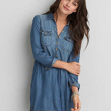 AEO Chambray Shirtdress, Medium Wash