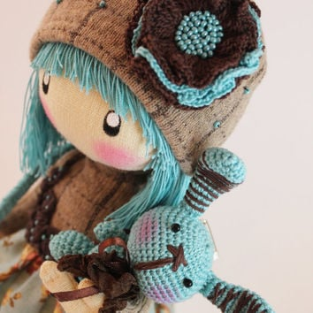 Doll Zooey brown and turquoise rag doll