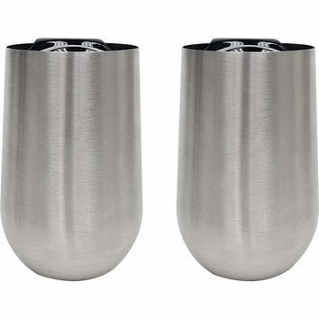 2pc - 16oz Stainless Steel Stem-Less Wine Glass w/Lid