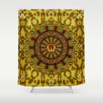 Heavy Metal With A Heart of A Lion In Valentine Time Shower Curtain by Pepita Selles