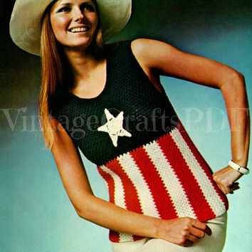 1970s Crochet Pattern Vintage | American Star Blouse | patriot patriotism America soccer game fun 4th of July | Direct from USA