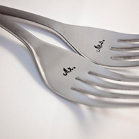 Mr. & Mrs. - Keepsake Wedding Fork Set - Hand Stamped on Stainless Steel Dinner Forks with Satin Finish - Perfect Gift for Bride and Groom