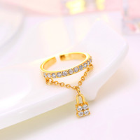 Korean Stylish 925 Silver Strong Character Diamonds Ring Lock [7652918855]