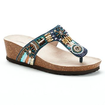 Croft & Barrow Women's Beaded Footbed Sandals