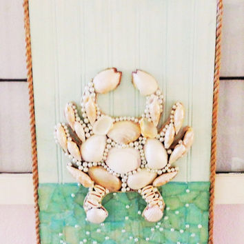 Seashell Crab Coastal Art- Blue and Aqua Beach Decor-Original Ocean Wall Hanging 11X17 inches