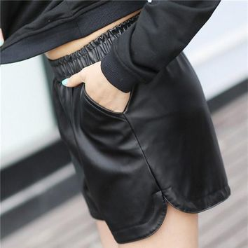 Short Black Fake Leather Women's Short Shorts