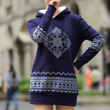 Plus Size S-XXXXL Fleece 2016 New Women Pullovers Hoodies Printed Thick Warm Long With Hooded National Wind Sweatshirts 0868