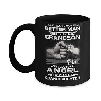 God Sent Me My Grandson & Angel Granddaughter Mug