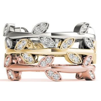 Stackables 3/4 Eternity Tri-Tone Gold Nature-Inspired Bezel-Set Diamonds 3-Band Set