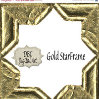 ON SALE Gold digital frame for scrapbooking, digital paper crafts DIY invitations greeting cards in Png format 8x10