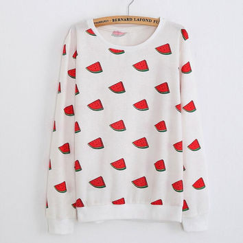 Fashion watermelon round neck sweater
