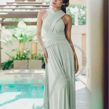 Bridesmaid Dress Infinity Dress Mint Floor Length Wrap Convertible Dress Wedding Dress