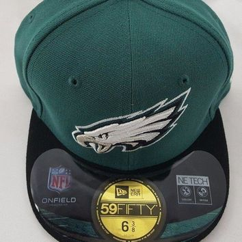 New Era Philadelphia Eagles NFL Sideline 59 Fifty Fitted Hat Baseball Cap 6 3/8""