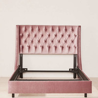 Charlotte Velvet Tufted Wingback Bed | Urban Outfitters