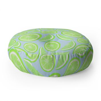Lisa Argyropoulos Simply Lime Blue Floor Pillow Round