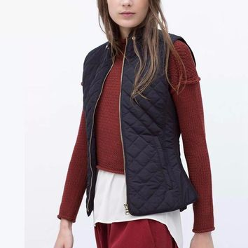 Quilting Plaid Cotton Padded Vest Fashion Sleeveless Jacket