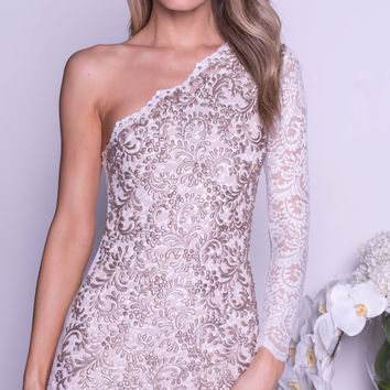 THAIS LACE DRESS IN WHITE WITH GOLD
