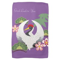 Japanese Lucky Symbols Crane Celebration Purple Hand Towel