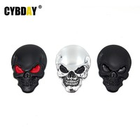 Car Styling 3D 3M 7.9cmx5.4cm Skull Metal Skeleton Motorcycle Auto Car Stickers And Decals Skull Chrome Emblem Badge Accessories