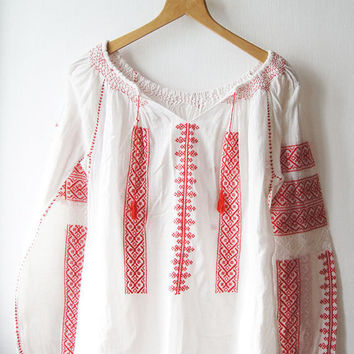 70's traditional Romanian  blouse Red white Vintage  Embroidery Hand Embroidery  Balkan Folk blouse M Free shipping