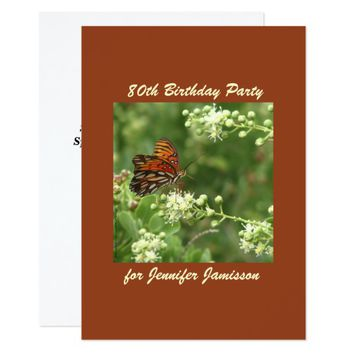 80th Birthday Party Invitation Orange Butterfly
