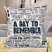 A Day To Remember Have Faith In Me White on Square Pillow Cover