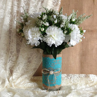 Rustic Deep Turquoise blue lace and natural burlap covered glass vase, wedding, bridal shower, baby shower, tea party table decoration