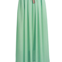Light Mint Chiffon Maxi Skirt