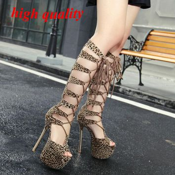 platform heels sandals women High Boots for Women Peep Toe high heels Knee Gladiator Boots High Heels Sandals leopard pumps Y923