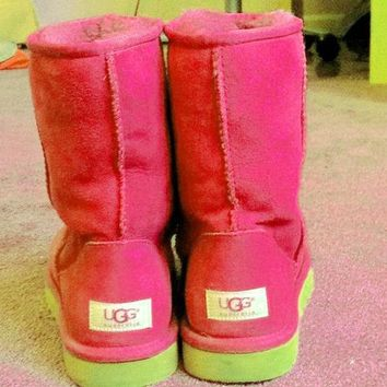 UGG Short boots antiskid warm lazy sheep fur simple ugg boots canister boots Fresh Pink