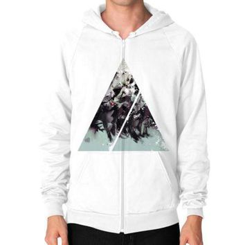 CREYUG7 Geometric Conversation Zip Hoodie (on man)