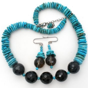 Turquoise Heishi Bead & Smoky Quartz Jewelry Set