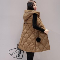 Add new autumn and winter plus fat MM long vest women large size slim down vest coat