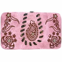 Western Style Paisley Flat Wallet Clutch Purse (Pink)