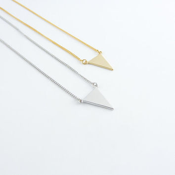 White gold triangle necklace | Dainty triangle necklace, White gold chevron necklace, Triangle charm necklace, Geometric necklace