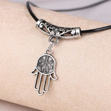 Vintage Hamsa Hand Pendants Necklace Brand Luck Fatima Palm Gold Color Chain nice Necklace X362